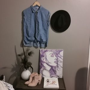 Chambray button up short sleeve